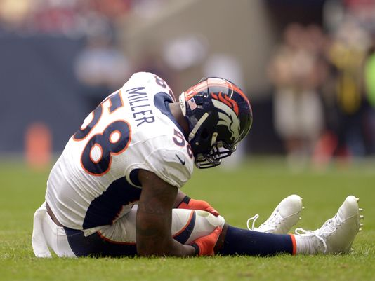 Broncos linebacker Von Miller has missed almost the entire season between a drug policy suspension and a torn ACL.