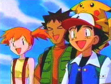 (from left): Misty, Ash Ketchum, and Brock. the protagonists of the Pokémon anime