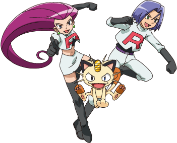 The Team Rocket Trio (from left): Jessie, Meowth, and James