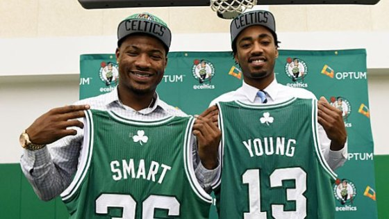 The newest Celtics, Marcus Smart and James Young.