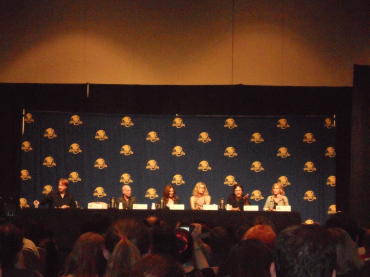 Battlestar panel, from left: Michael Hogan, Mary McDonnell, Kate Vernon, Richard Hatch, and Tricia Helfer