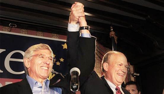 "Alaskan gubernatorial ""unity ticket,"" (from left): Democrat Byron Mallott, and Independent Bill Walker."