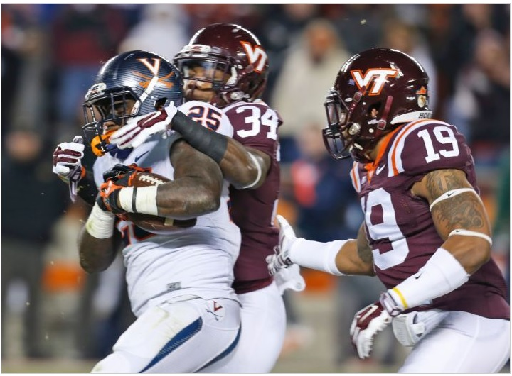 Virginia running back Kevin Parks got bottled up for a lot of the rivalry game, limiting the Hoos' offense.
