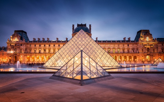 The Louvre, with its glass pyramid