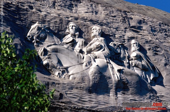 The iconic carving at Stone Mountain Park featuring Jefferson Davis, Robert E. Lee, and Stonewall Jackson.