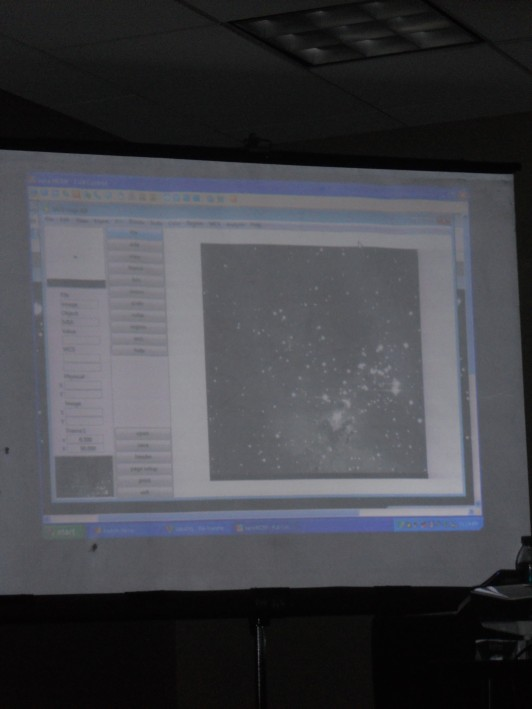 This is a screen shot from Live Astronomy. That white patch near the bottom near the center is the Pillars of Creation.