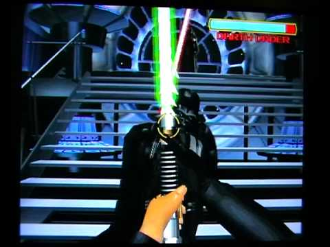 The last stage of Star Wars Trilogy Arcade, where the player duels with Darth Vader.