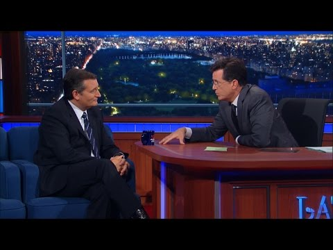 Stephen Colbert grills Ted Cruz on Ronald Reagan's policies and same-sex  marriage
