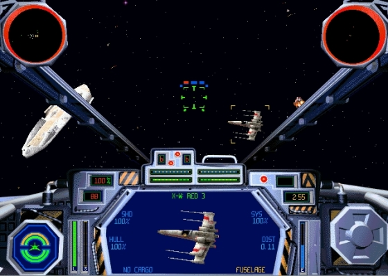 Gameplay still from TIE Fighter, in the cockpit of an Assault Gunboat.
