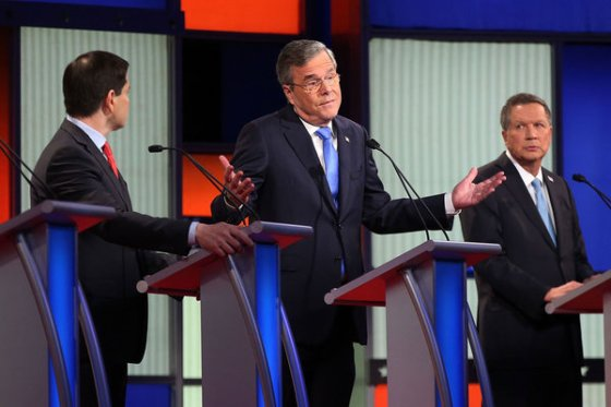 Jeb Bush expresses how many are reacting to the Republican race, as Marco Rubio (left) and John Kasich look on.