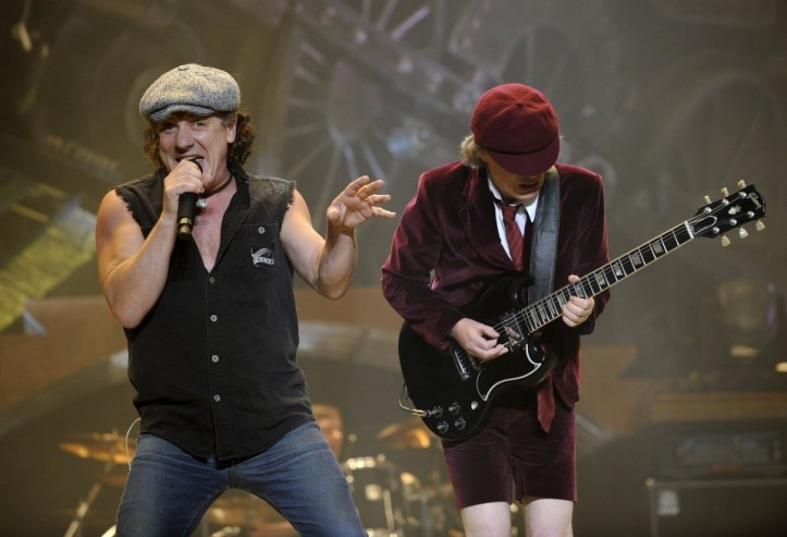 AC/DC vocalist Brian Johnson performing with guitarist Angus Young